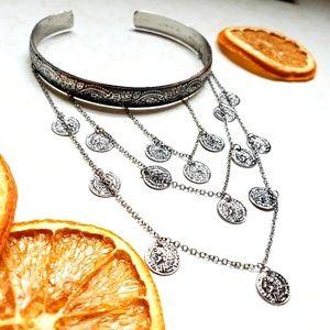 Jewelry - Boho Cascading Coins Silvertone Arm Cuff